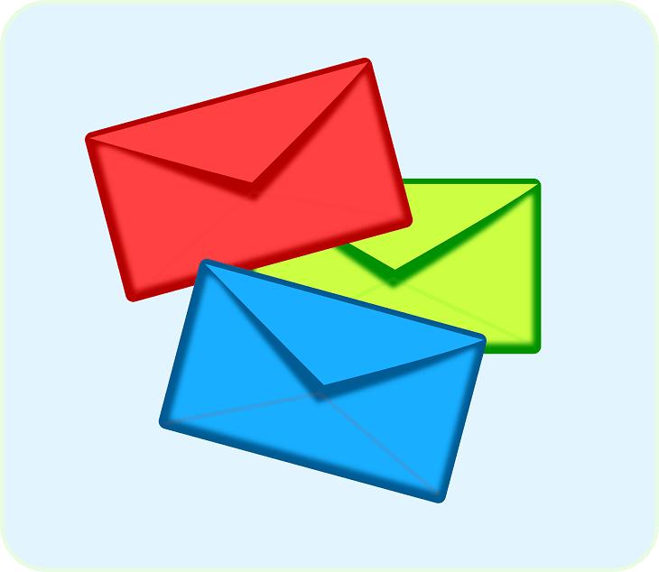 3色の手紙イラスト